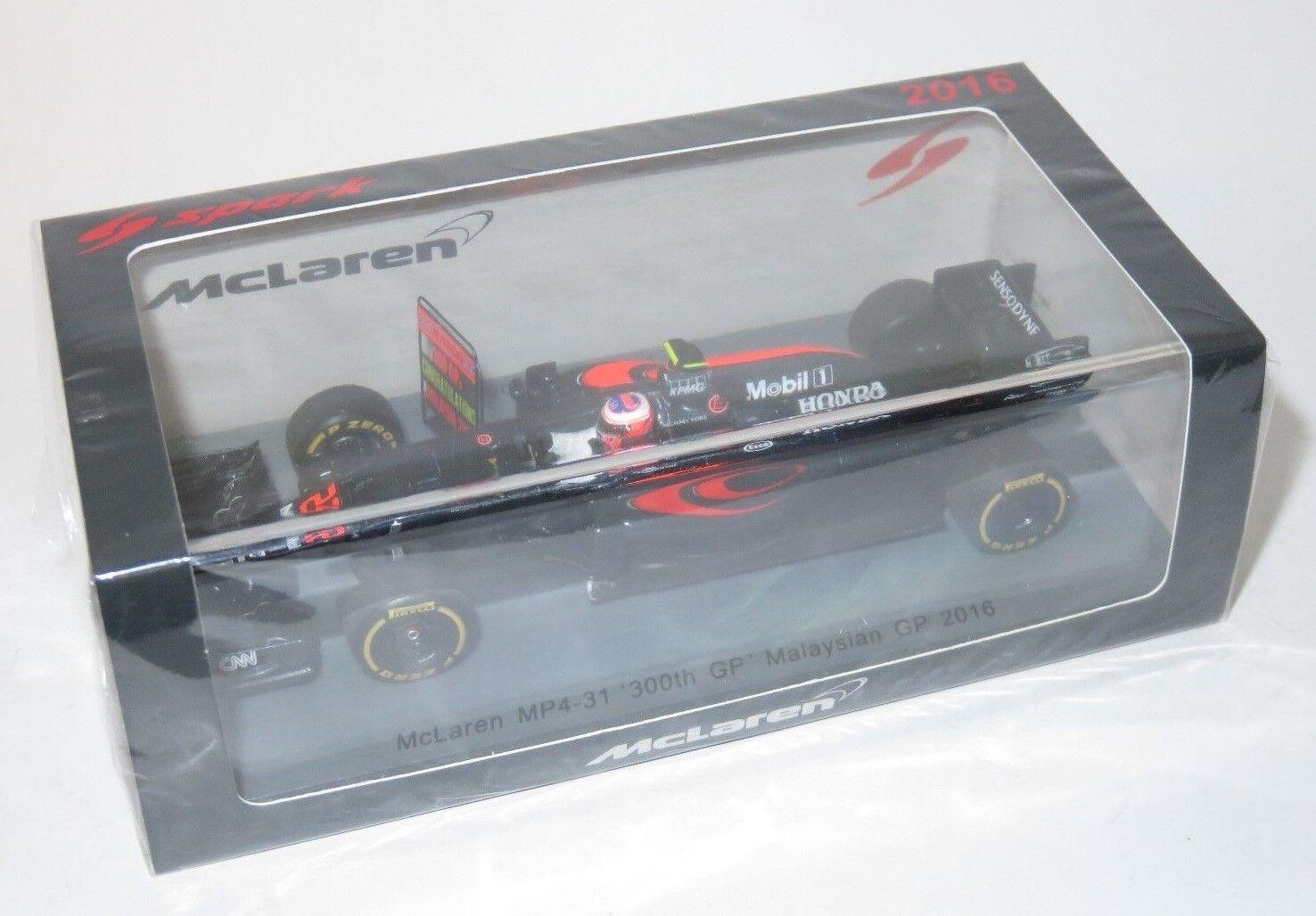 sorteos de estadio 1 1 1 43 McLaren MP4-31 Honda 300th Gp Malasia 2016 Jenson Button con PIT Board  promociones