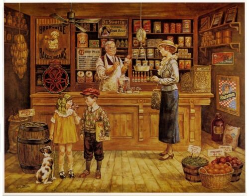THE GENERAL STORE Nostalgic Art by Lee Dubin 10x8 In.
