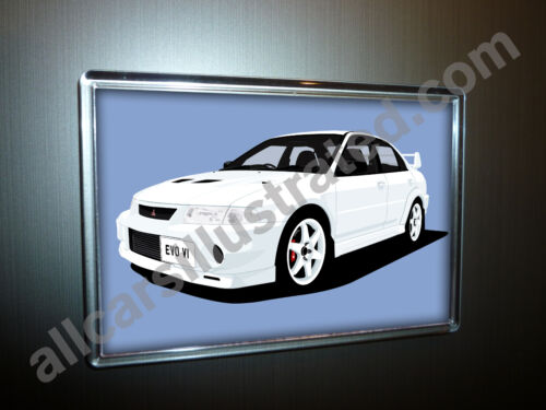 MITSUBISHI EVO VI FRIDGE MAGNET CHOOSE YOUR CAR COLOUR. LARGE