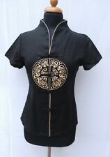 Chinesische Traditionelle Damen schwarze Bluse aus Leinen stark reduziert