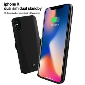 Details about Bluetooth 2sim Dual Sim Standby For iPhone X Power Bank Case  Peel adapter