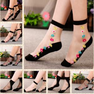 Women-Transparent-Thin-Roses-Flower-Lace-Socks-Crystal-Glass-Silk-Short-Socks