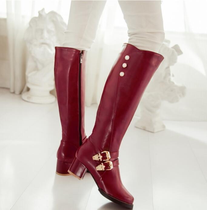 Womens European Sz35-43 Buckle Pointy Toe Knee High Boots Chunky Heel shoes