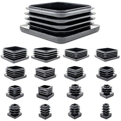 10Pcs Plastic Black Blanking Caps Square Inserts For Tube Pipe Box Section.xd