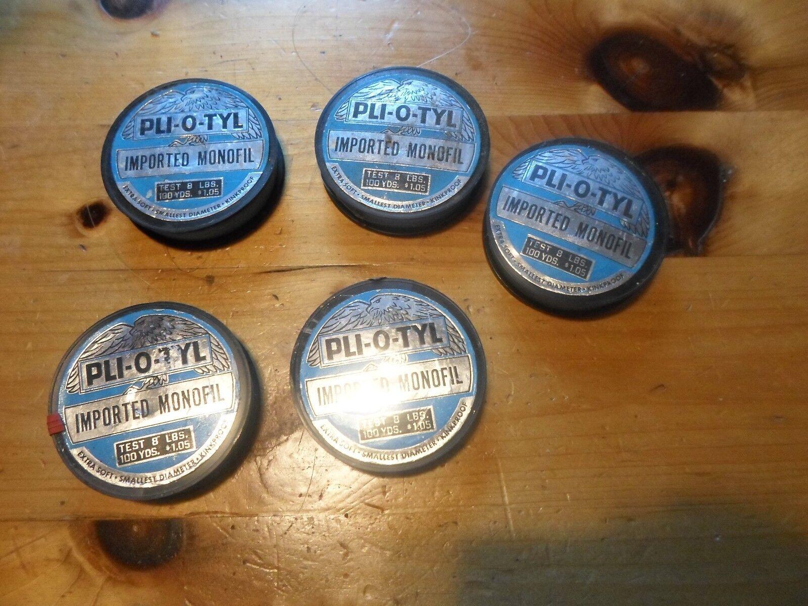 Lot of 5 Pli-o-Tyl imported Monofil 8 pound test fishing Line RARE