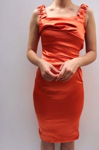 Karen Millen Coral Stretch Satin Fold Pencil Occasion Mini Party Dress 8 to 16
