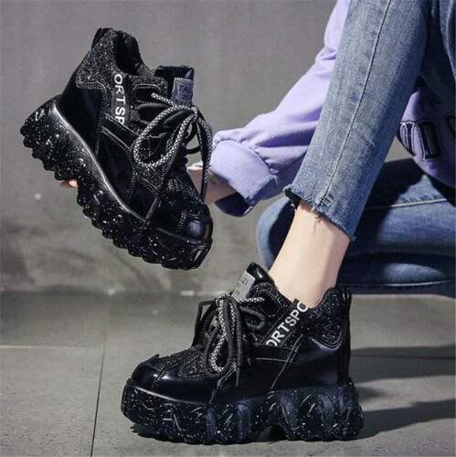Athletic Trainers Women Bling Glitter Platform Wedge Fashion Sneakers Punk Boots