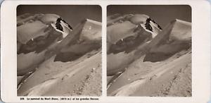 Stéréo, France, sommet du Mont-Blanc et les grandes bosses Vintage stereo card