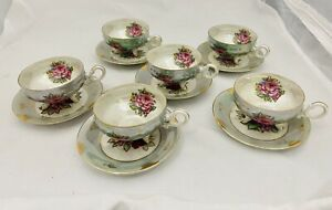 Vtg-China-Lusterware-Set-of-6-Teacups-Saucers-Roses-Pale-Green-Gold-Footed-Japan