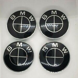 4x-BMW-Wheel-Centre-Caps-68mm-All-Black-5-Tab-Set-Fits-BMW-1-3-5-6-7-E-Series