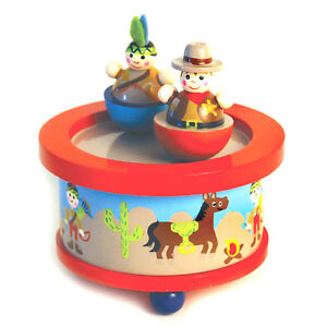 Details About New In Box Wooden Western Cowboy Indian Girl Spinning Music Box
