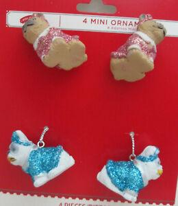 4 Mini Plastic Pug Dog Christmas Ornaments - Tan & White ...