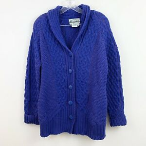 Aran-Crafts-Purple-Cable-Knit-Merino-Wool-Cardigan-Sweater-Womens-Size-Small