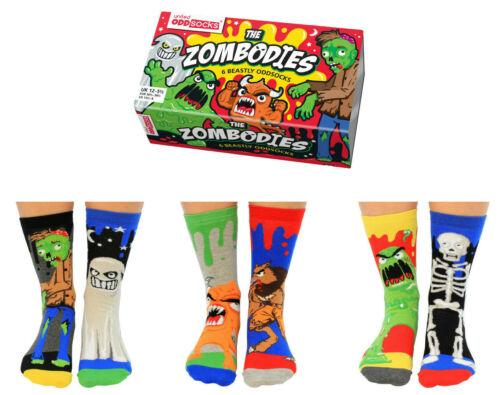 UNITED ODDSOCKS ZOMBODIES SIX ZOMBIE INSPIRED ODD SOCKS FOR BOYS UK SIZE 12-5.5