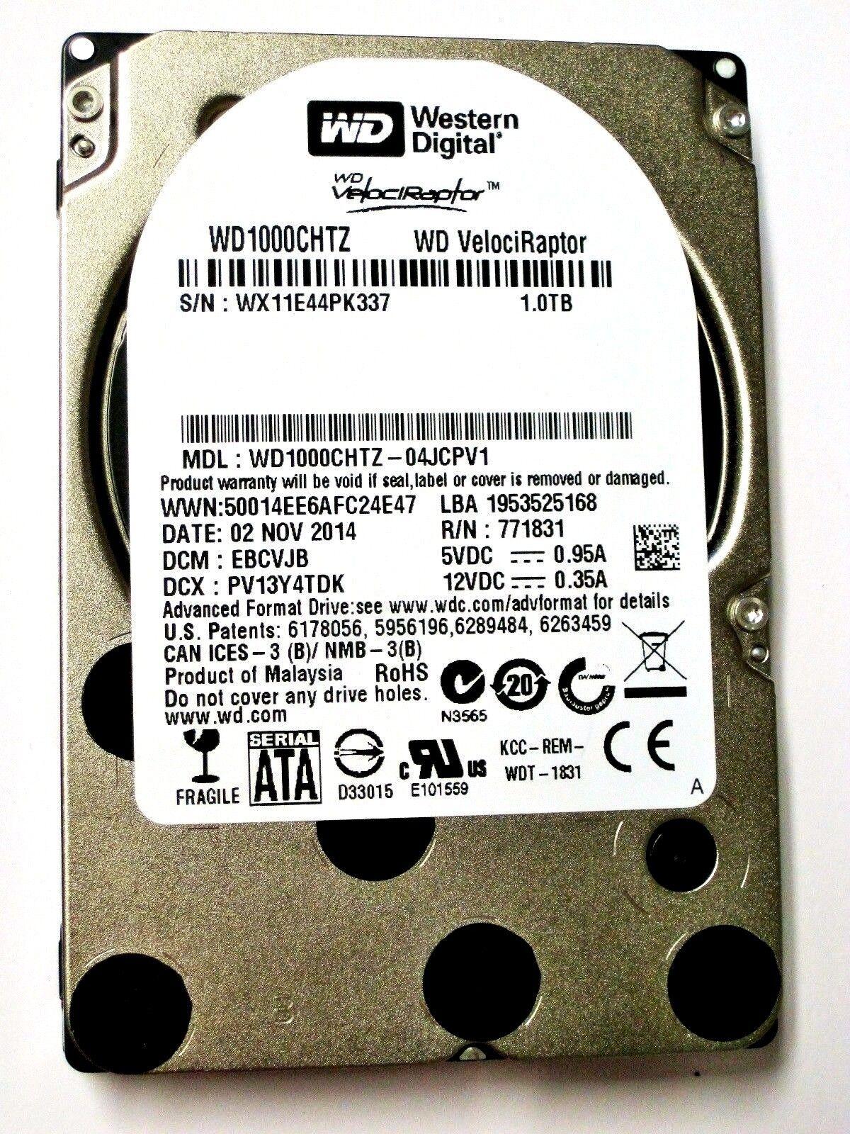 "Western Digital WD VelociRaptor WD1000CHTZ 1TB  SATA 10K RPM SFF 2.5/"" Drive MY"