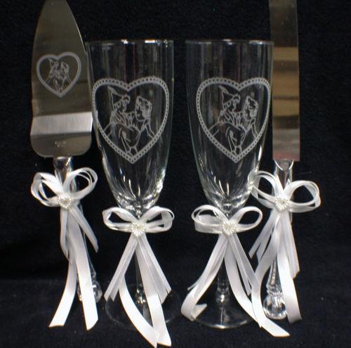 Peter Pan et Wendy Lot Mariage Lunettes, couteau, serveur, livre d'or Stylo Et Support