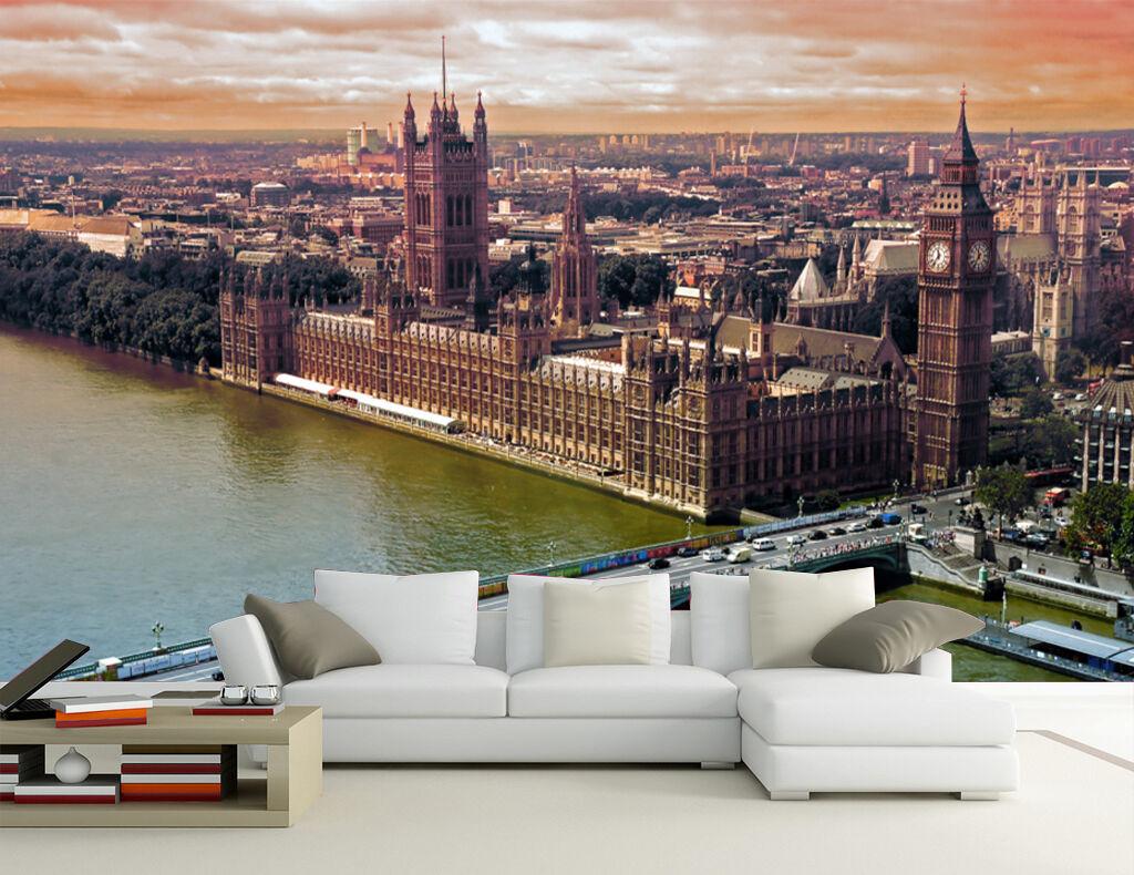 3D London Paysage 7 Photo Papier Peint en Autocollant Murale Plafond Chambre Art