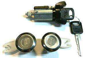 2 Ford Ignition Switch Lock Cylinder Door Lock Cylinder W//2 Logo Keys Pair