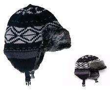 Urban Pipeline Women's One Size Black Fairisle Black Faux Fur Trapper Hat NEW