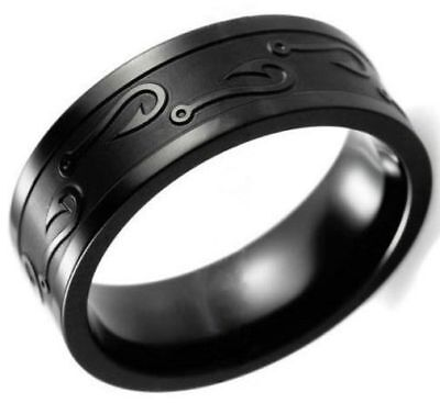 Engraved Fish Hook Carved Size 11 Black Tungsten Stainless Steel Ring USA SELLER
