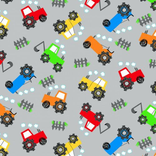 Fabric Baby Tractors Grey Comfy Flannel by the 1//4 yard 0972AE-90
