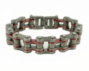 SK2257-Stainless-Steel-3-4-034-Wide-Two-Tone-Antiqued-Candy-Red-Bike-Chain-Bracelet