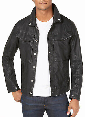 Homme G STAR RAW slim fit noir Fell Zip en cuir synthétique vodan Pleather Veste L | eBay