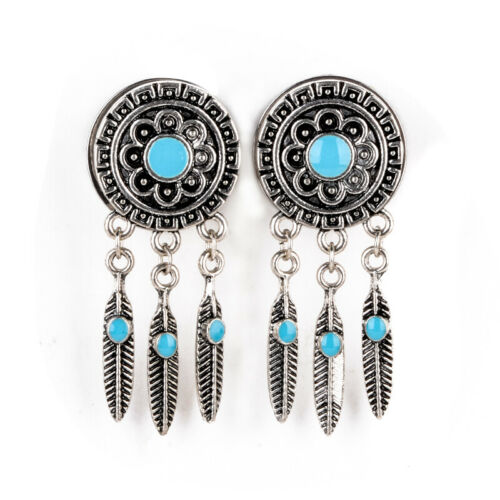 Pair Surgical Steel Dream Catcher Feather Dangle Tunnels Ear Plug Body Earrings