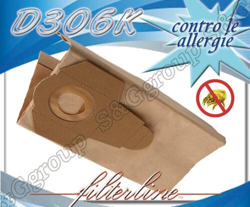 D306MF 5 sacchetti filtro sacco microfibra per aspirapolvere De Longhi XW 1200ED