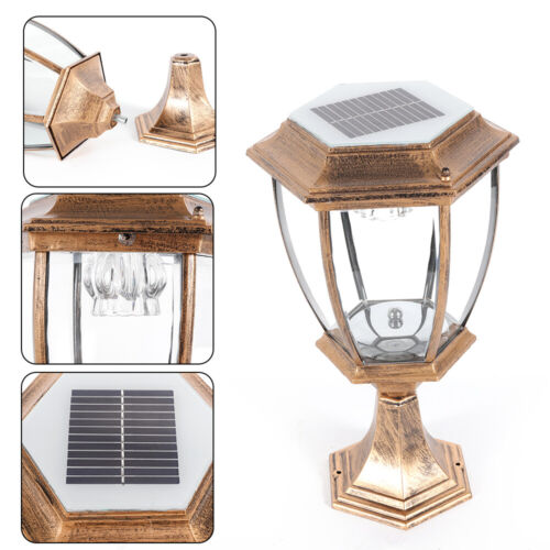 Outdoor Exterior Solar Powered LED Pillar Light Post Lamp Garden Lantern USA