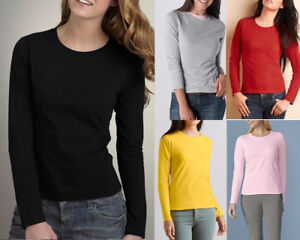 AU-STOCK-LADIES-100-COTTON-PLAIN-BASIC-LONG-SLEEVE-SLIM-TOP-TEE-T-SHIRT-T166