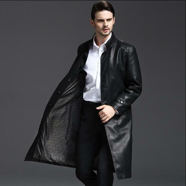 2019 Mens Trench Real Cow Leather With Belt Stand Collar Knee Length Parka Coats