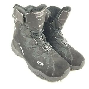 Details about Salomon Snowtrip Black Waterproof Thinsulate Sherpa Lined Boots Men US 10 543908