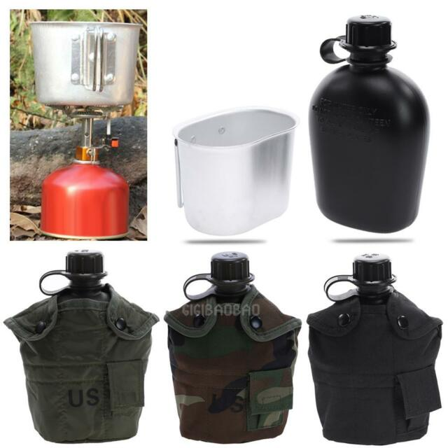 Outdoor Stainless Steel Military Hiking Camping Water Bottle Canteen+Cover+Cup