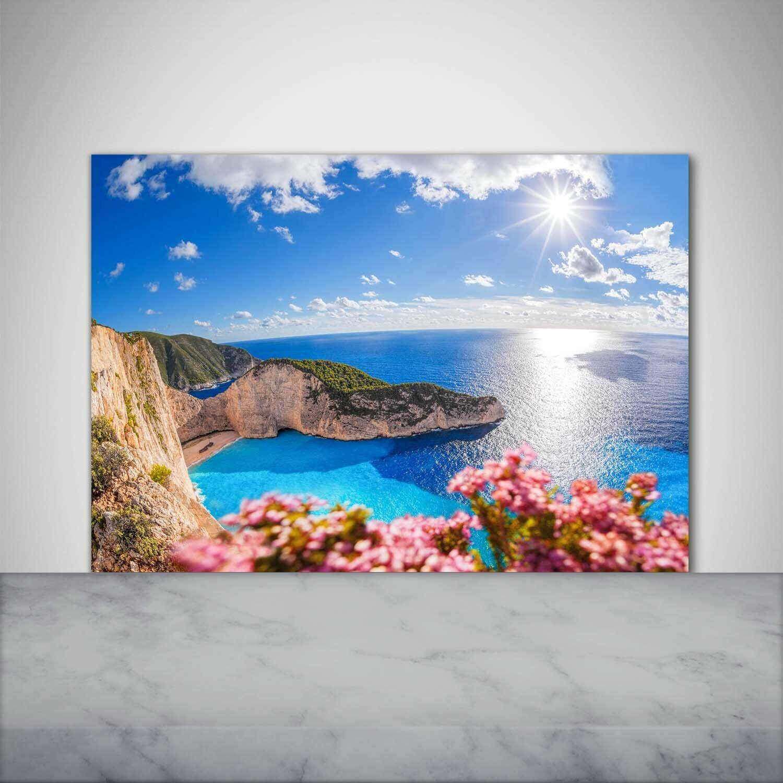 Küchenrückwand Spritzschutz aus Glas 100x70 Deko Landschaften Zakynthos