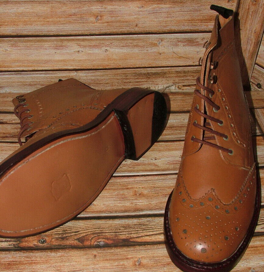 New Mens Church Walk Hand Made All Leather Tan Brogue Boots Size 12