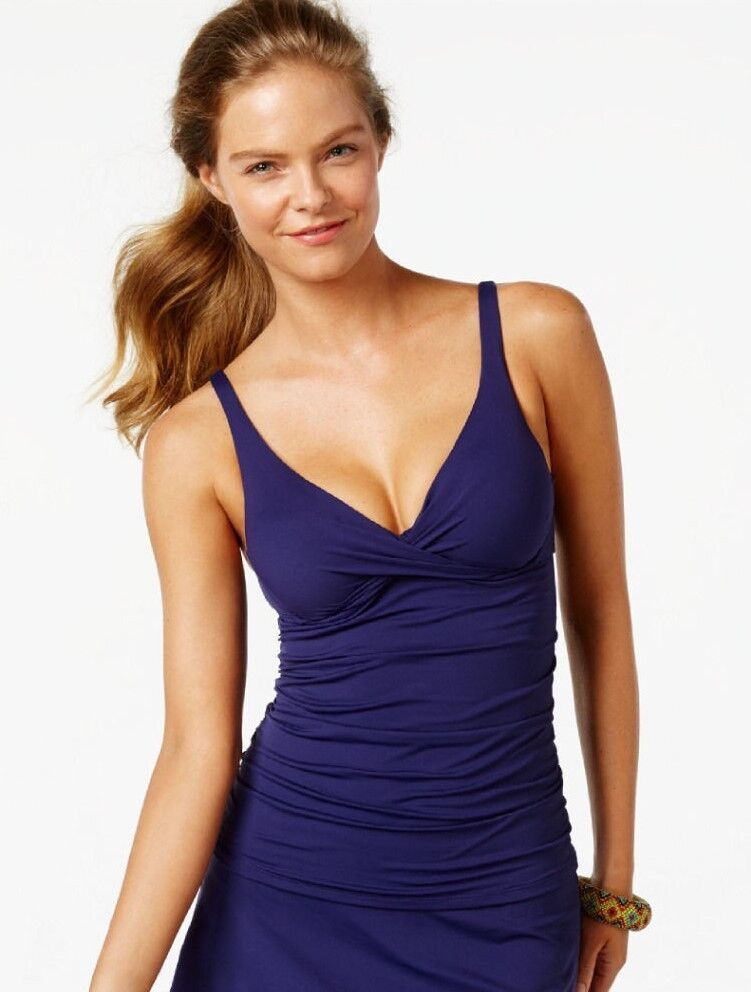 Anne Cole 34D Twist Tankini & Size M Tulip Skirted Brief Swimsuit Navy NWT  122
