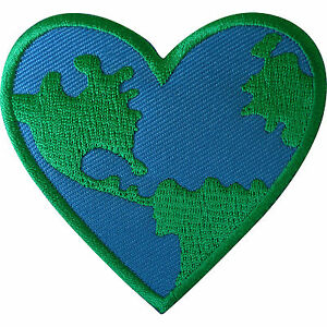 World-Love-Heart-Patch-Iron-Sew-On-Clothes-GreenPeace-Earth-Embroidered-Badge