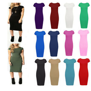 Women-Ladies-Plain-Jersey-Stretch-Crew-Neck-Bodycon-Cap-Sleeve-Midi-Dress-8-26-U
