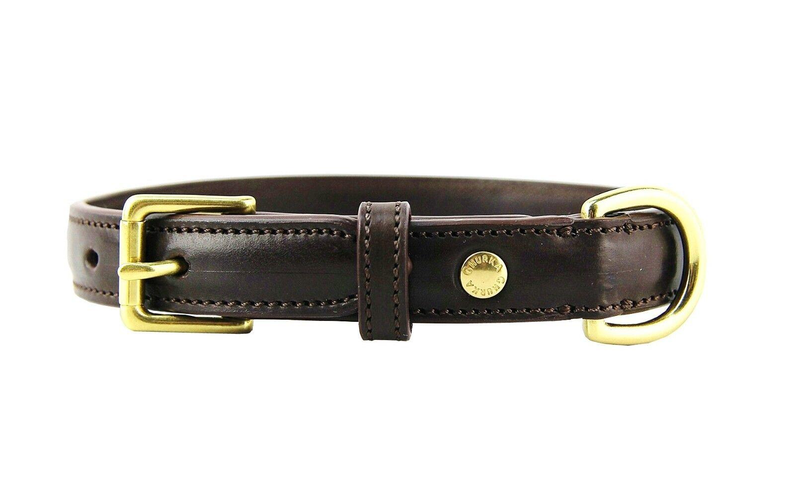 compra meglio GHURKA GHURKA GHURKA 100% LEATHER DOG COLLAR FOR SMALL BREED WALNUT .75  WIDE 16.5  LONG NEW  negozio online