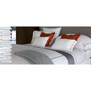 YVES-DELORME-ZIGZAG-housse-couette-Blanc-amp-SILVER-Duvet-cover-140-cm-200-cm
