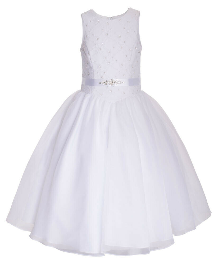 MICHELLE IVORY WHITE BRIDAL PARTY FLOWER DRESS ZIPPER CLOSURE LACE TULLE SKIRT