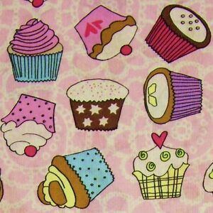 Candy-Pink-amp-White-Patterned-100-Cotton-Fabric-with-Cupcakes-Per-Metre