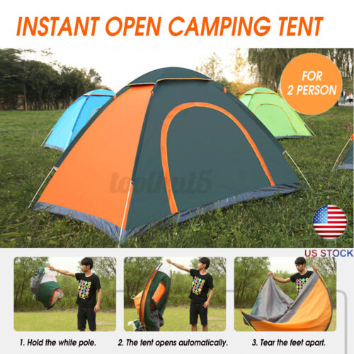 US 2-3 4-5 Person Automatic Outdoor Camping Tent Waterproof Sunshin