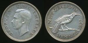 New-Zealand-1937-Sixpence-6d-George-VI-Silver-Very-Fine