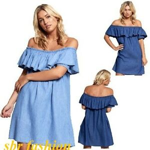 2245c3cb6ed3 new ladies denim jeans blue frill off shoulder bardot summer tunic ...