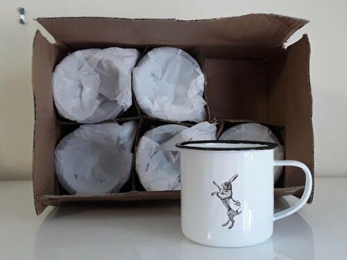 Set of 6 Mad March Hare Irish Poitin White Rabbit Enamel Mugs Cups Coffee Cup x6