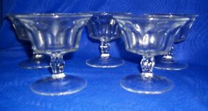 Lot-of-5-Sherbet-Glasses-Colonial-Puritan-Clear-Heisey-Glasses