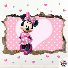 3D DISNEY MINNIE MOUSE Wall Sticker Vinyl Nursery GIRLS BABY PINK polka dot