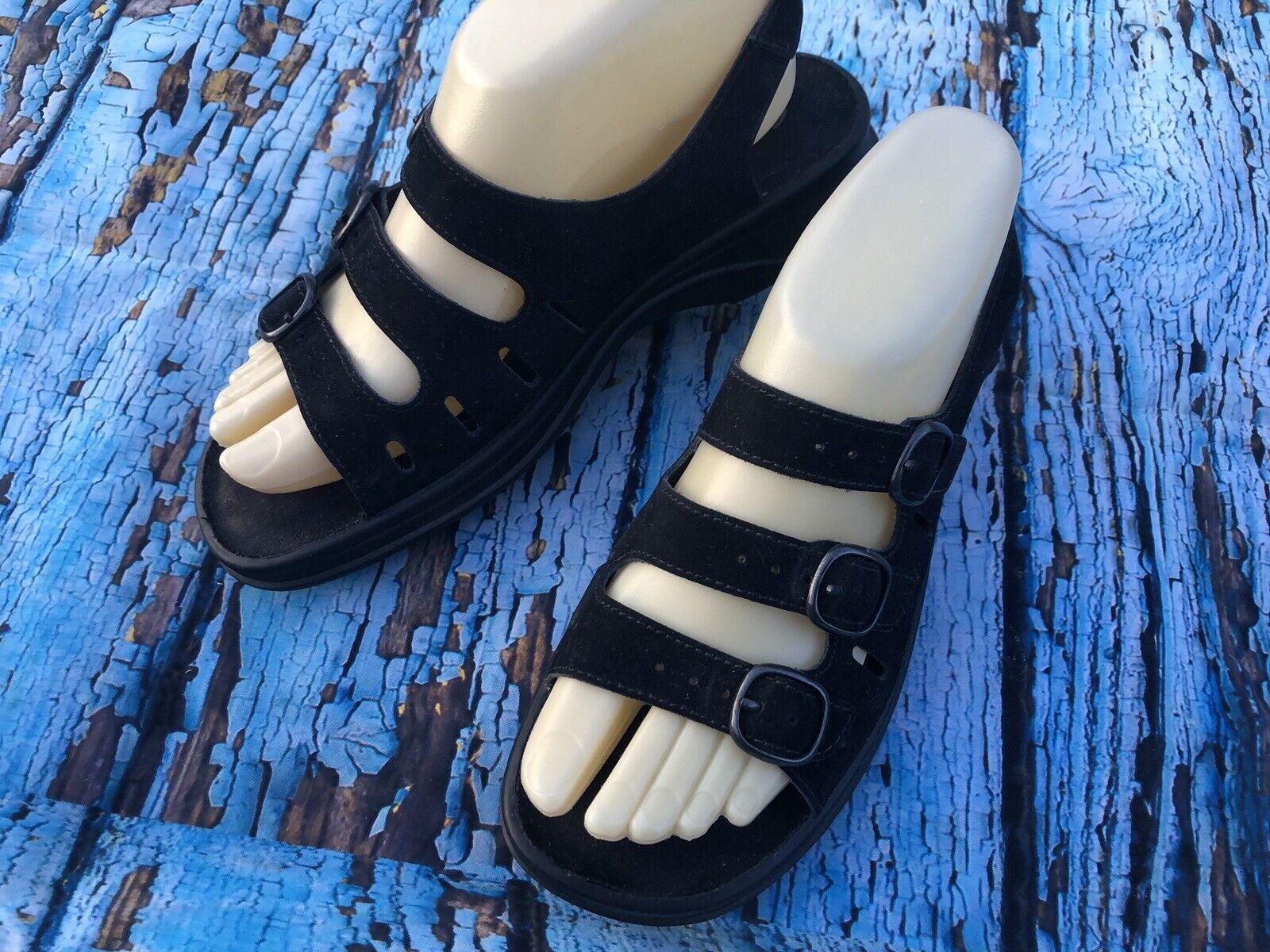 CLARKS SPRINGERS Size 7.5 M Black Nubuck Leather Comfort Sandals Cushioned